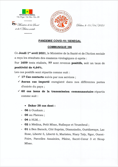 Bilan-Covid-Sénégal : Trois (3) nouveaux décès annoncés ce jeudi