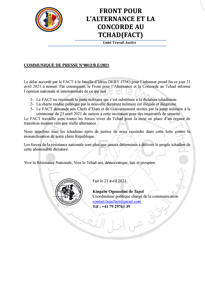 Tchad : Les rebelles menacent les Présidents qui vont assister aux obsèques de Déby
