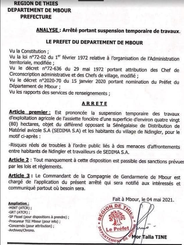 Ndingler : le préfet de Mbour arrête les travaux de Sedima