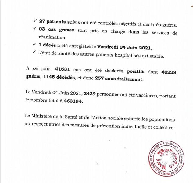 Sénégal-Bilan-Covid-19 : un (01) décès annoncé ce samedi
